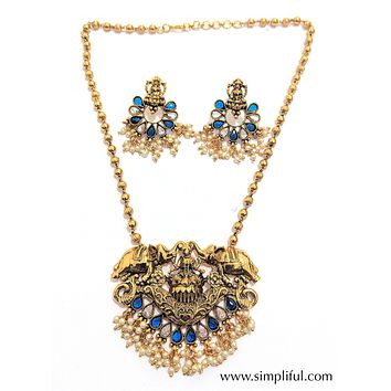 Traditional Goddess Lakshmi Pendant necklace and Earring set