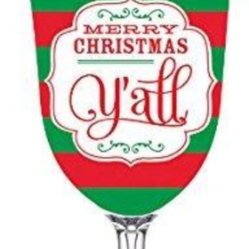 Christmas Acrylic Wine Glass quotMerry Christmas Yallquot  13 oz Double Wall Insulated Acrylic Wine Tumbler with Lid and Straw Red Green