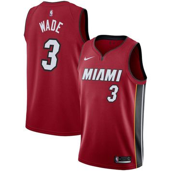 Men's Miami Heat #3 Dwyane Wade Nike Red Replica Swingman Jersey - Statement Edition - Best Deal Online