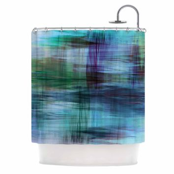 "Ebi Emporium ""COLOR BLUR, TURQUOISE BLUE"" Blue Green Abstract Modern Watercolor Mixed Media Shower Curtain"