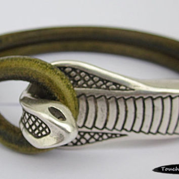 Leather Wrap Bracelet with Silver Cobra Closure - Distressed Green Leather, Unisex, Leather Cuff Bracelet