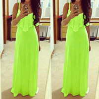Hot Sales Neon Color Women Long Dresses 2016 Sexy Spaghetti Strap Lace Summer Maxi Dress Vest Dress Beach Plus Size Vestidos