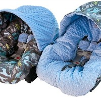 Infant Car Seat Cover in Urban Jungle Blue