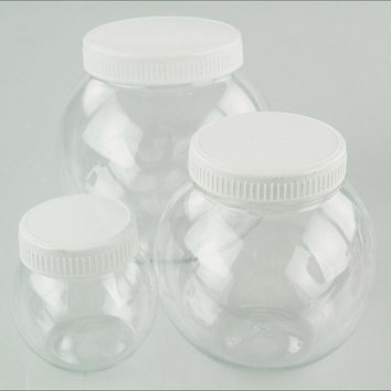 Plastic Round Favor Container with Lid, 4-1/2-inch, Large, White