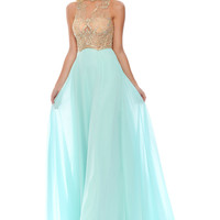 Precious Formals Glam Gurlz S81008 Sheer Illusion Top Prom Dress
