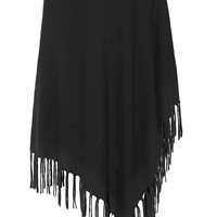 DKNY - Asymmetric fringed knitted poncho