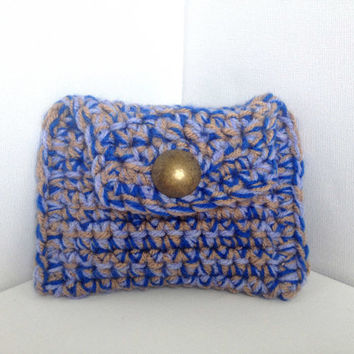 Ladies Coin Purse, Chunky Wallet, Blue Ladies Purse, Hand Crocheted, Blue and Brown Pouch, Large Yarn Purse, Button Purse, Hand Knit Bag