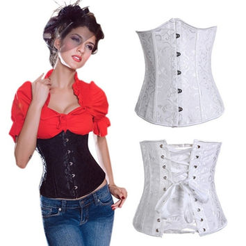 Hot Sale Black White Underbust Corset Sexy Women Body Shaper Underwear Lace Up Back Corselet Print Corsets Bustiers Gothic Wedding Dress Lingerie = 1930019332