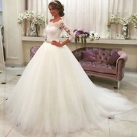 Lace Half Sleeves Ball Gown Wedding Dress with Removable Sash Custom Size 0 2 4