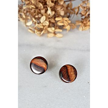 Vintage Solid Wood  Stud Earrings