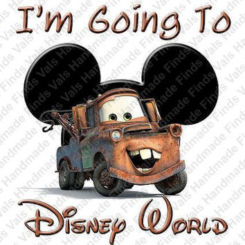 Disneys Cars I'm Going to Disney World Mickey Mouse Head Printable Digital Iron On Transfer Clip Art DIY Tshirts Instant Download