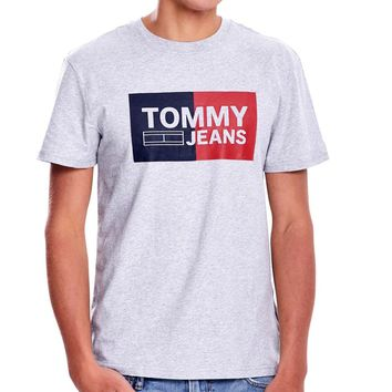 TOMMY JEANS new tide brand cotton letter printed round neck half sleeve t-shirt Grey