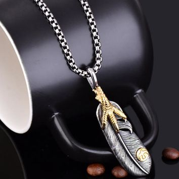 PUN punk stainless steel chain feather eagle pendant necklace gold personalized vintage necklace men chocker neckless choker