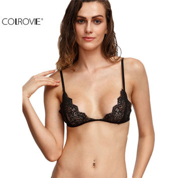 COLROVIE Black Scalloped Lace Triangle Bralet Sexy Ladies Crop Tops Summer Sleeveless Spaghetti Strap Camisole