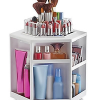 Makeup Organizer Tabletop Spinning QVC  Plastic Acrylic White Cosmetic Organizer Holds 100 Pieces 360 Degree Rotation