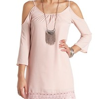 CROCHET TRIM COLD SHOULDER SHIFT DRESS