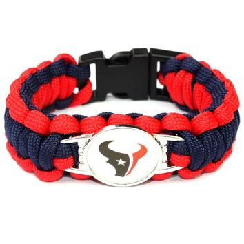 Fashion Paracord Bracelet Houston Texans Charm Bracelet Braided Bracelet Outdoor Sports Bracelet For Women Jewelry