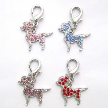 Pet Dog Rhinestones Chihuahua Collar Charm Pendant Cat Puppy Jewelry 5 colours