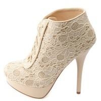 Bamboo Sparkly Lace Sequin Lace-Up Booties by Charlotte Russe - Beige
