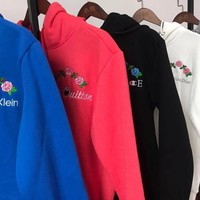 gucci louis vuitton christian dior versace calvin klein champion flower rose embroidered sweater hoodie pullover