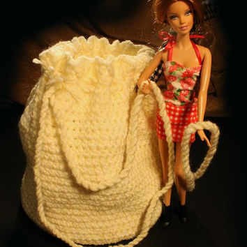 Crochet Drawstring Bag, Handmade,  Light Yellow and White --Patti's Original Collection