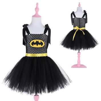 Batman Dark Knight gift Christmas Superhero Kids Halloween Christmas Costume Tutu Dress Children Party Dresses Baby Girls Batman Tutu Dress AT_71_6