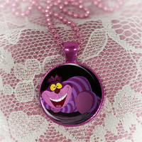 Cheshire Cat  Round Cabochon Necklace or keyring V4560