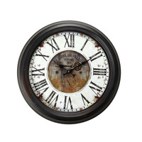 "Adeco Vintage-Inspired Brown, Round WallHanging Clock ""Hotel De Ville"" Key Detail Home Decor"