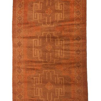 3x6 Overdyed Tribal Vintage Rug Burnt Orange 2619