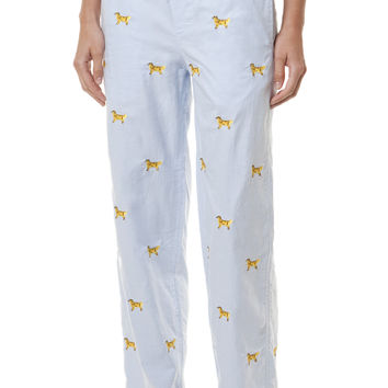 Ladies Sleeper Pant Blue Oxford with Golden Retriever