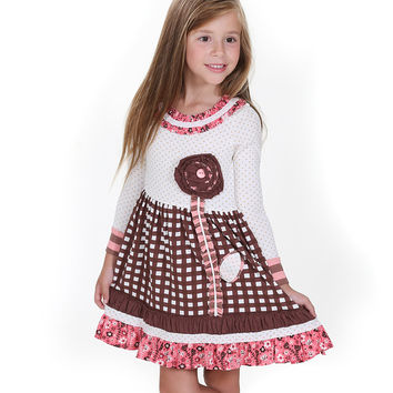 Jelly The Pug Brown & White Into the Woods Lillipop Dress - Girls 2T,3T,4,6,5,14