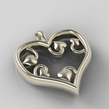 Valentines Day Pendant Heart shaped Pendant with smaller curly Hearts inside made of Sterling Silver