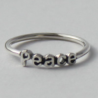 Peace Ring Sterling silver with poetic words by HeartCoreDesign