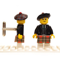 Scottish Highlander cuff links. Cufflinks made with LEGO(R) bricks. Wedding, gift, birthday, graduation, groomsman...