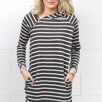 Striped + Floral Asymmetrical Zipper Hooded Tunic {Charcoal Mix}