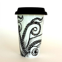 Octopus Ceramic Travel Mug Sea Creature Kraken Tentacles Black and White Nautical Painted illustration