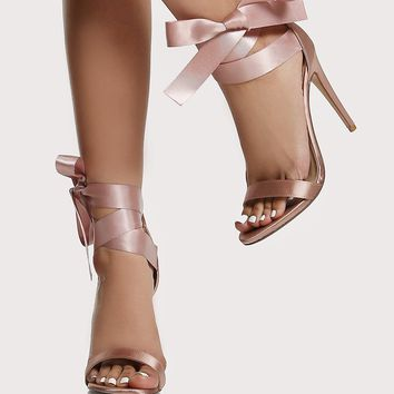 Ribbon Tie Up Heels MAUVE