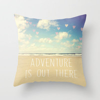 adventure is out there Throw Pillow by Sylvia Cook Photography | Society6