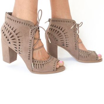 Empire Laser Cut Booties in Taupe