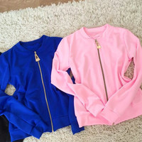 Woman Jacket Spring And Autumn 2016 Solid Long Sleeve New Fashion Women Jacket Zipper Women Clothes