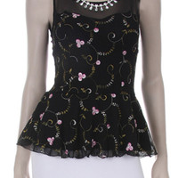 JEWELED FLORAL PEPLUM TOP - BLACK
