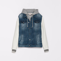 Zara Denim Jacket with Faux Leather Sleeves and Hood in Blue for Men (Mid-blue) | Lyst