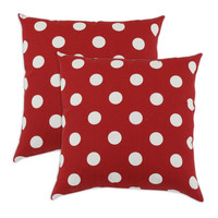 Breezy Polka Dot Red Indoor-Outdoor Accent 17 inch Throw Pillows (set of 2)