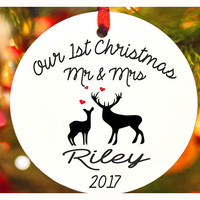 Our First Christmas ornament , Deer ornament,Mr & Mrs Personalized christmas tree ornament, Wedding Ornament, christmas gift (Ch20)