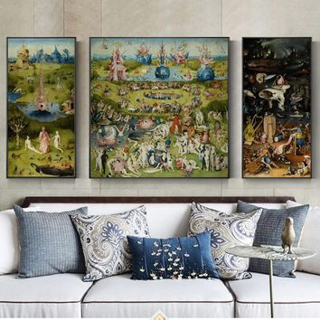3 Panels The Garden of Earthly Painting Reproductions On The Wall By Hieronymus Bosch Wall Art Canvas Modular Picture Home Decor