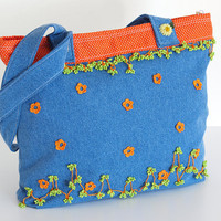 Orange Polka Dot Jean Shoulder Bag by PinaraDesign on Etsy