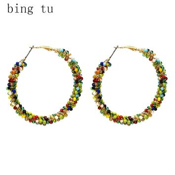 Bing Tu Women Hoop Earrings Bohemia Colorful Resin Beads Round Earring Big Geometric Earings Female Jewellery brinco femme