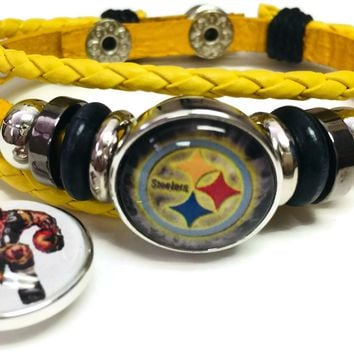 NFL Pittsburgh Steelers Player Logo Yellow Leather Bracelet W/2 Snap Jewelry Charms New Item