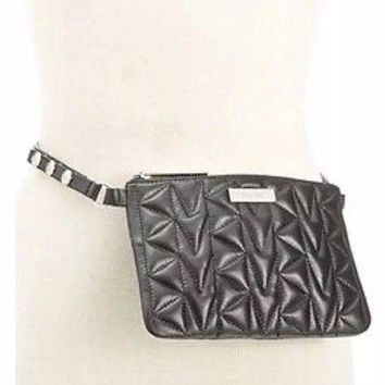 DCCK8TS MK Michael Kors Quilted Fanny Pack Black And Silver