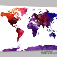 Purple Predominated Colorful World Map Canvas Print - Watercolor View World Map Canvas Printing - Large Wall Art - Streched Canvas